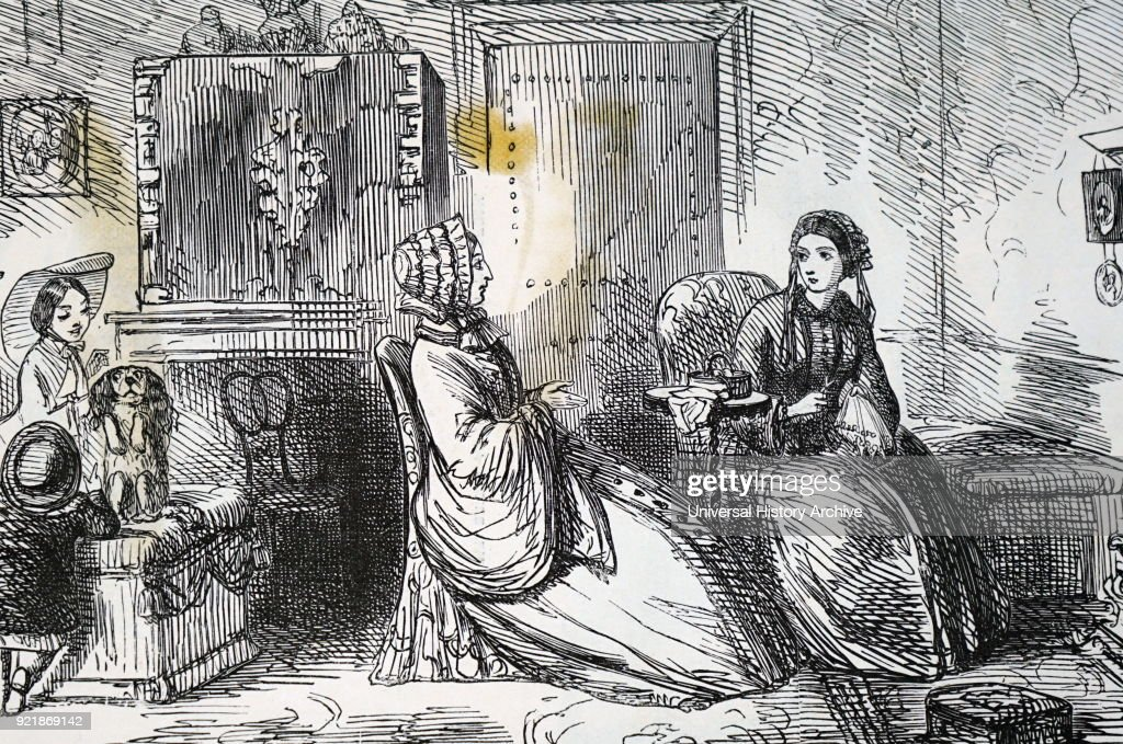 Illustration depicting a wealthy Victorian family spending time together in their luxury London home. Dated 19th century.