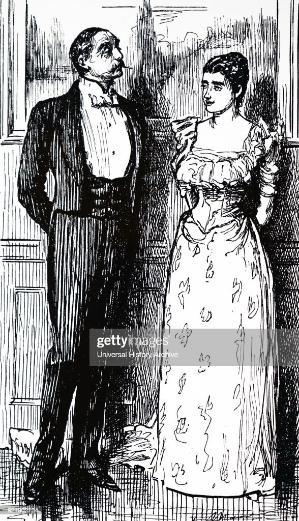 Illustration depicting a wealthy woman and a gentleman guest. Illustrated by George du Maurier (1834-1896) a Franco-British cartoonist and author. Dated 19th century.