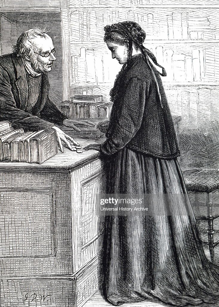 Illustration depicting a widow selling books to a second-hand bookseller. Illustrated by John Dawson Watson (1832-1892) a British painter, watercolourist, and illustrator. Dated 19th century.
