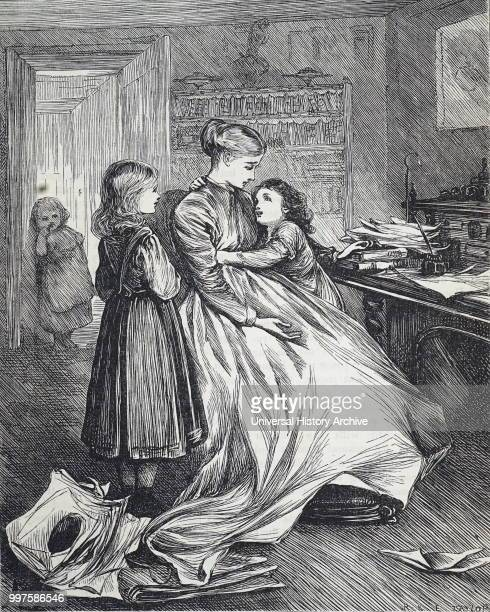 Illustration depicting a widow with her children Illustrated by Mary Ellen Edwards an English artist and prolific illustrator of children's books...