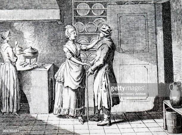 Illustration depicting a wife greeting her husband at the kitchen door while the maid cooks the dinner Dated 18th Century