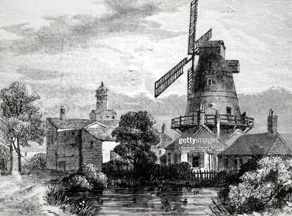 Illustration depicting a windmill at Lambeth used by the Apothecaries' Company for grinding materials for their drugs. Dated 19th century.