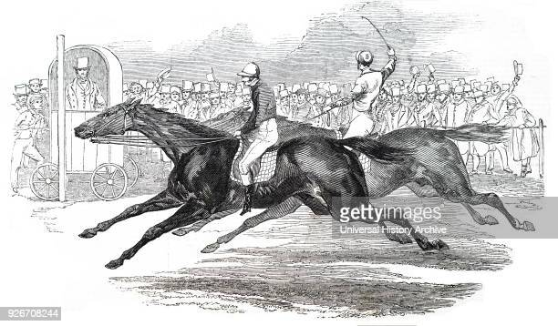 Illustration depicting a winning racehorse called 'Ugly Buck' Dated 19th century