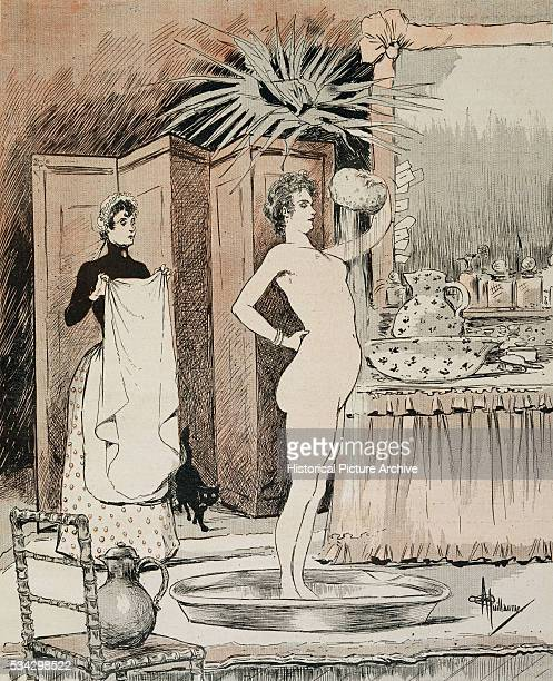 Illustration Depicting a Woman Bathing by Albert Guillaume
