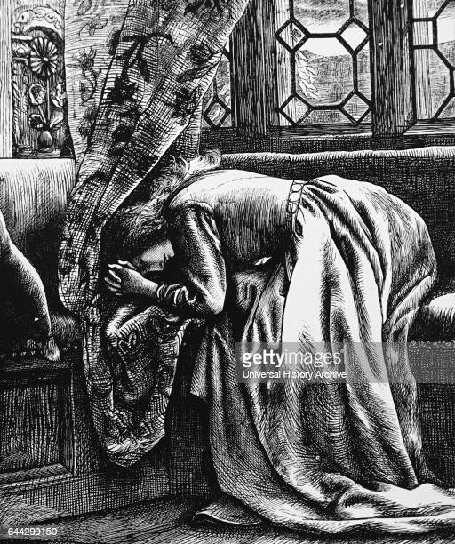 Illustration depicting a woman grieving Illustrated by Arthur Hughes an English painter and illustrator associated with the PreRaphaelite Brotherhood...