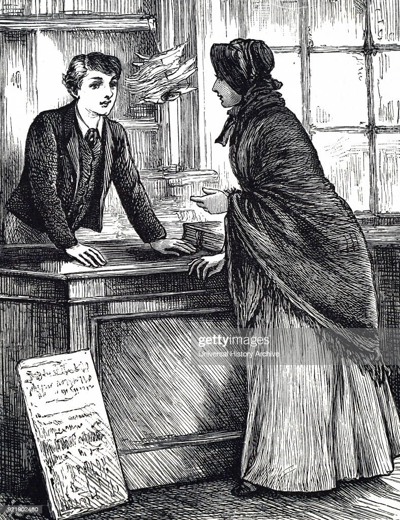 Illustration depicting a woman ordering a book at the bookseller and stationer's shop. Illustrated by Mary Ellen Edwards (1838-1934) an English artist who contributed to many Victorian newspapers and journals, as well as being an illustrator of children's books. Dated 19th century.
