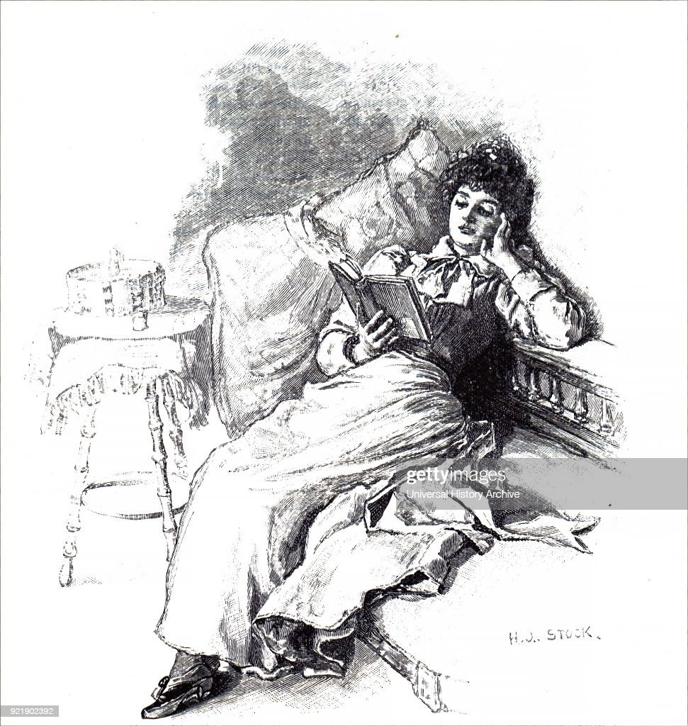 Illustration depicting a woman reading her book as she reclines in her chair. Dated 19th century.