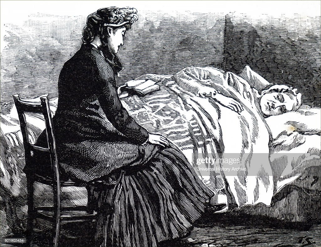 Illustration depicting a woman reading to an old bed-ridden woman. Dated 19th century.