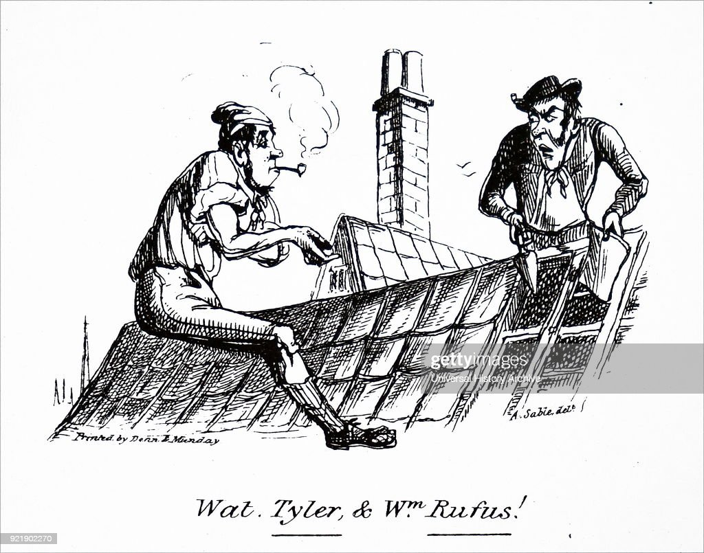 Illustration depicting a workman smoking his pipe as he mends a roof. Dated 19th century.