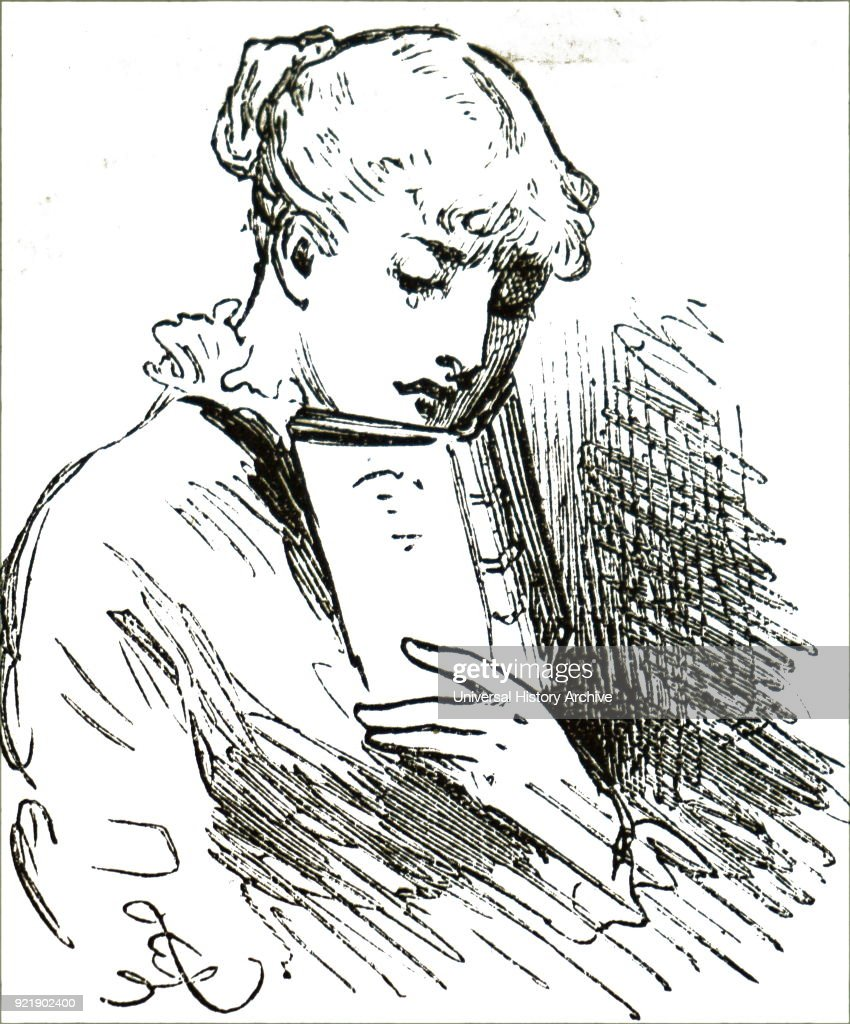 Illustration depicting a young girl reading her book. Dated 19th century.