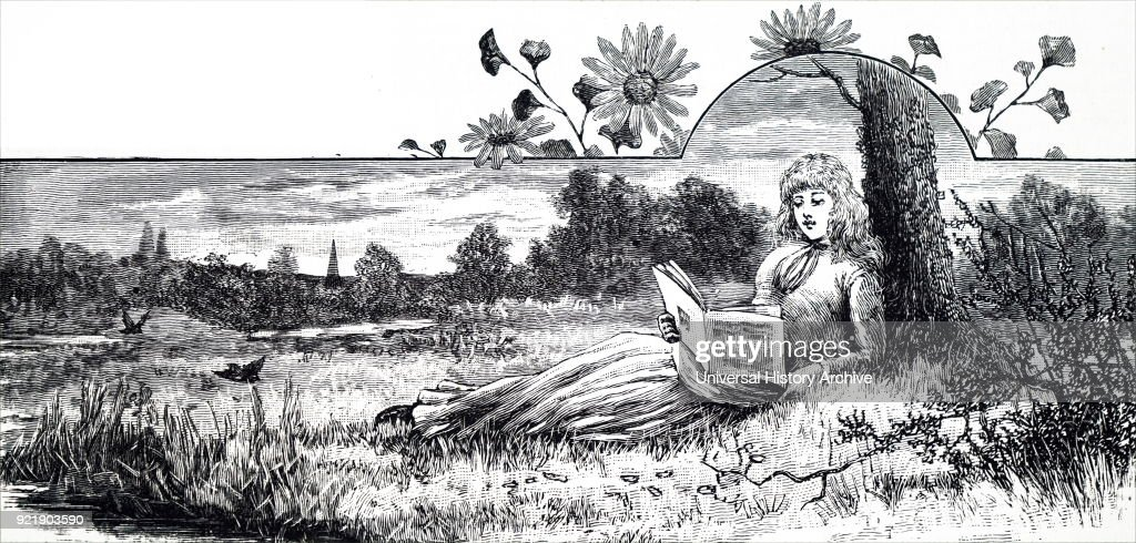 Illustration depicting a young girl reading her book on a summer afternoon. Dated 19th century.