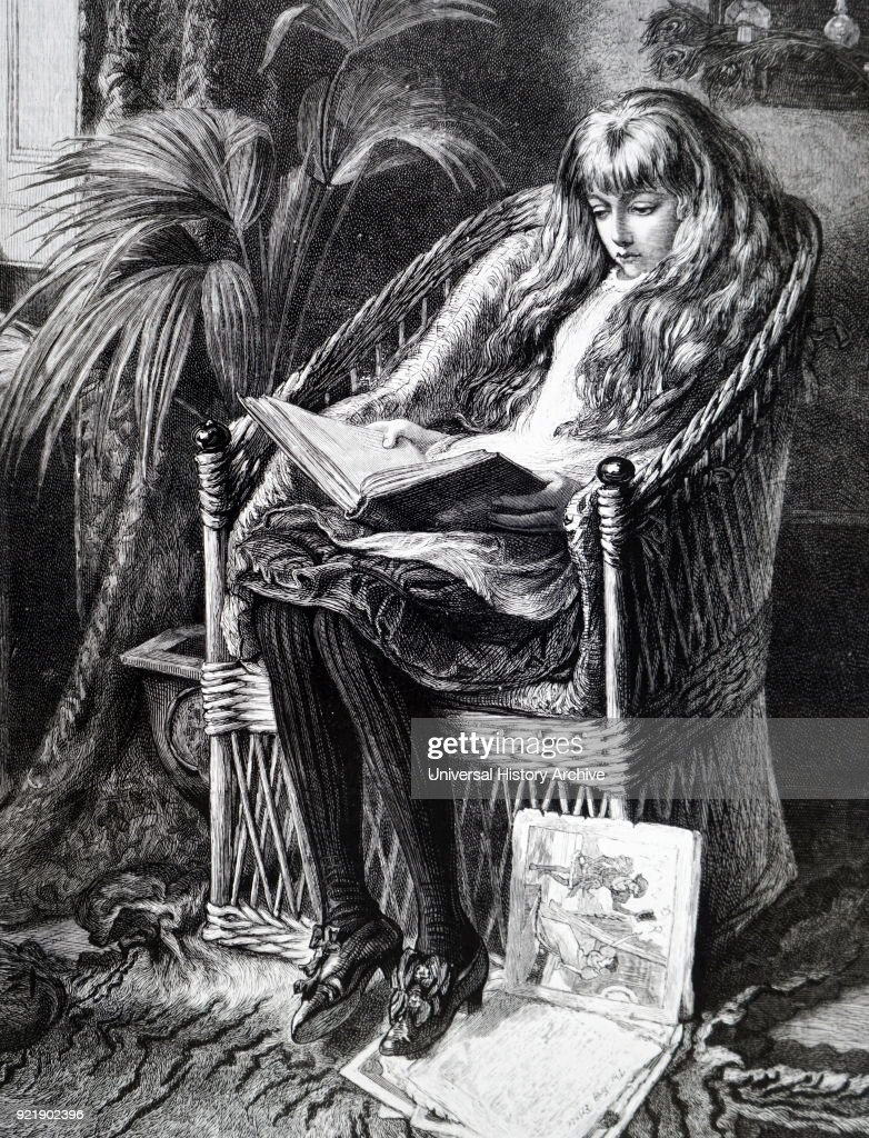 Illustration depicting a young girl reading her book whilst siting on a wicker chair. Dated 19th century.