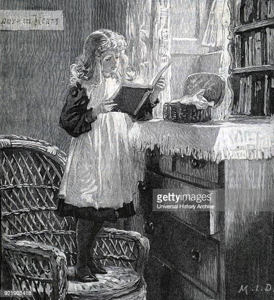 Illustration depicting a young girl reading her book whilst standing on a wicker chair. Dated 19th century.