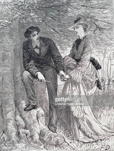 Illustration depicting a young man carving initials on a tree Dated 19th Century