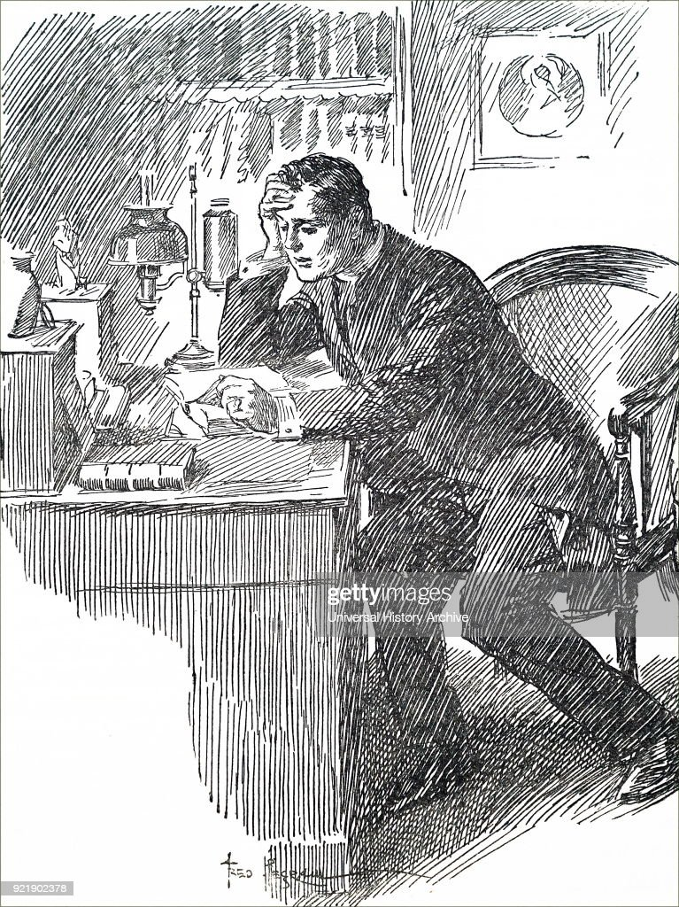 Illustration depicting a young man reading a book at his desk. Dated 20th century.