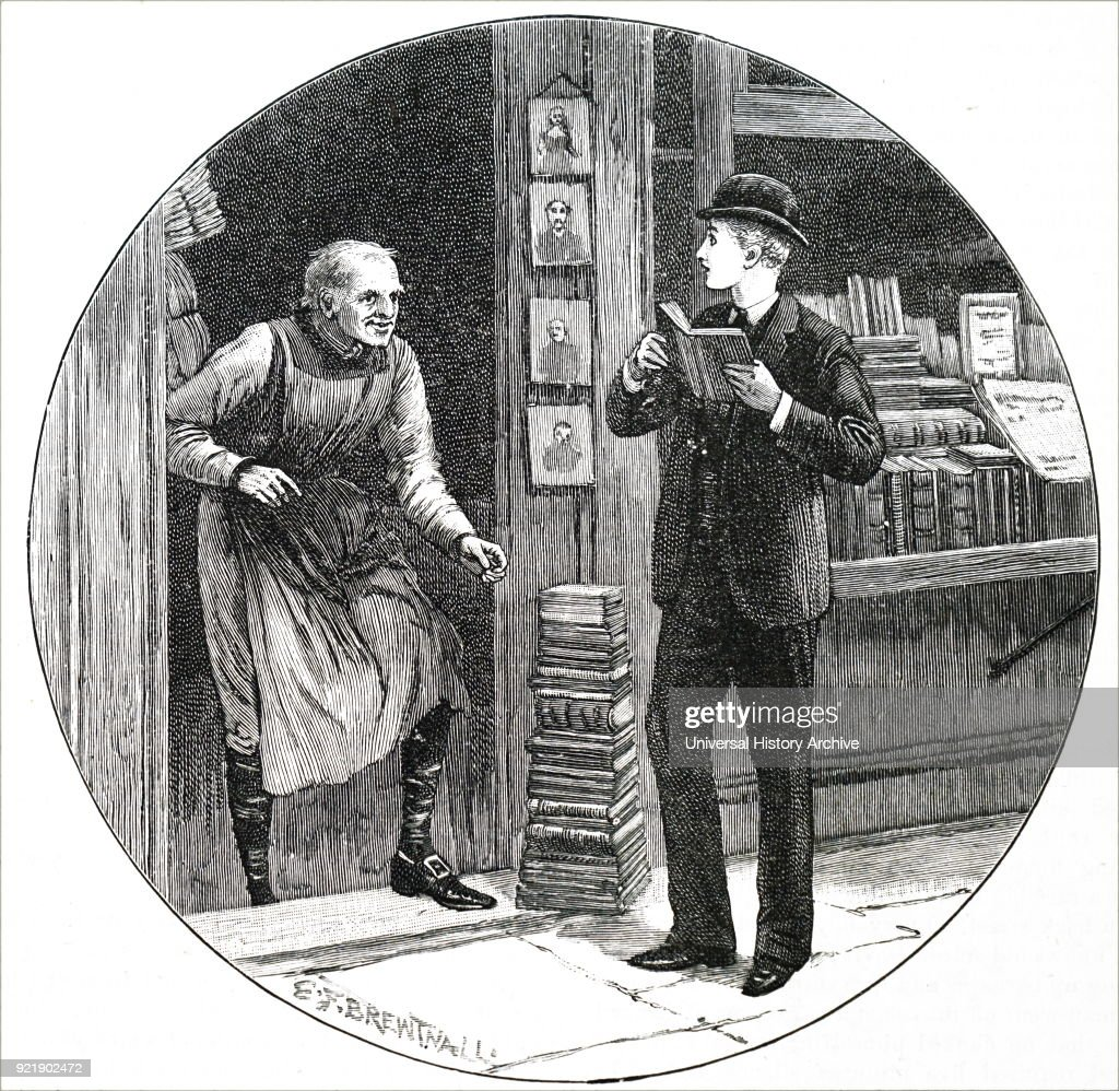 Illustration depicting a young man reading outside of a bookshop as the shop-keeper appears from within the shop. Dated 19th century.