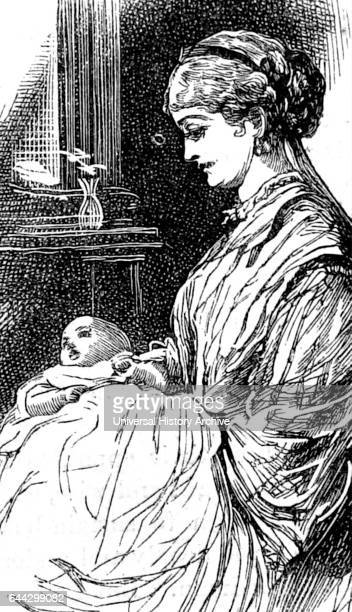 Illustration depicting a young mother nursing her infant child Illustrated by William Small a Scottish illustrator and author Dated 19th Century