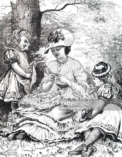 Illustration depicting a young mother teaching her two young daughters to make daisy chains Dated 19th century