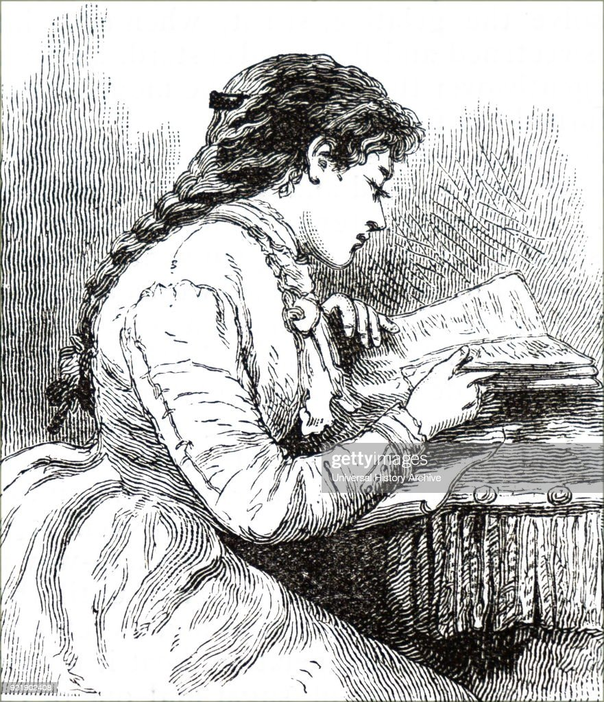 Illustration depicting a young woman engrossed in a book. Dated 19th century.