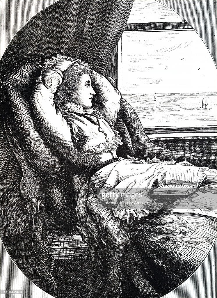 Illustration depicting a young woman looking out of a window at the sea. She is reclined in a chair with a book resting on her lap. Dated 19th century.