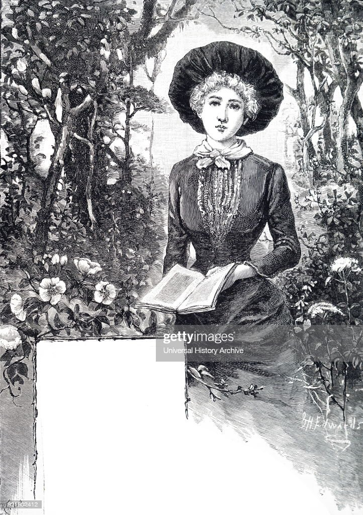 Illustration depicting a young woman reading her book. Dated 19th century.