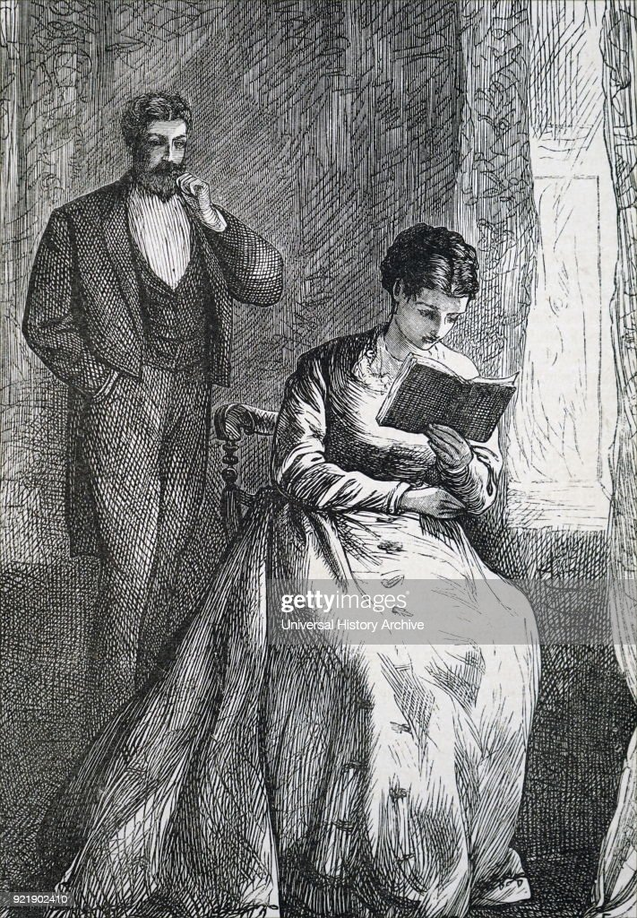 Illustration depicting a young woman reading her book. Illustrated Francis Arthur Foster. Dated 19th century.