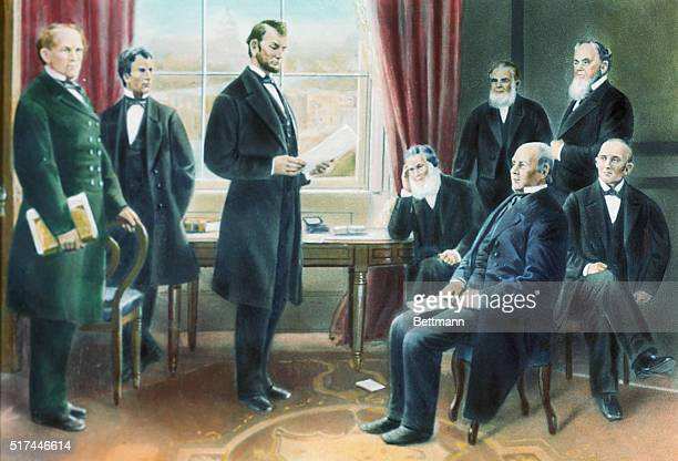 Illustration depicting Abraham Lincoln reading the draft of the Emancipation Proclamation to his cabinet on July 22 1862 Undated