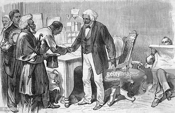 Illustration depicting American social reformer, abolitionist, orator, writer, and statesman Frederick Douglass welcoming some of his constituents to...