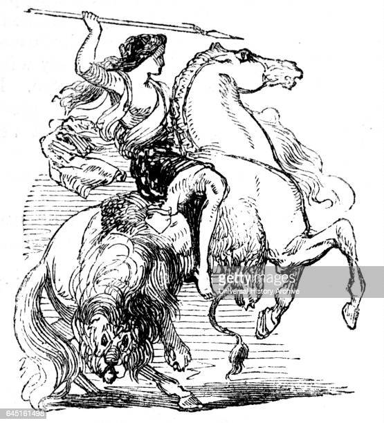 Illustration depicting an Amazon female warrior on horseback. In Greek mythology, the Amazons, were a race of women warriors. Scythian women were the...