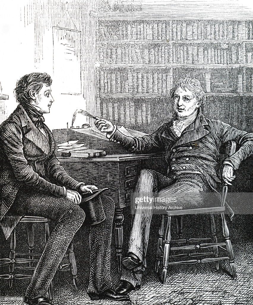 Illustration depicting an author in a publisher's study. Dated 19th century.