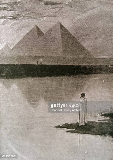 Illustration depicting an Egyptian looking out over the Nile toward the pyramids of Egypt