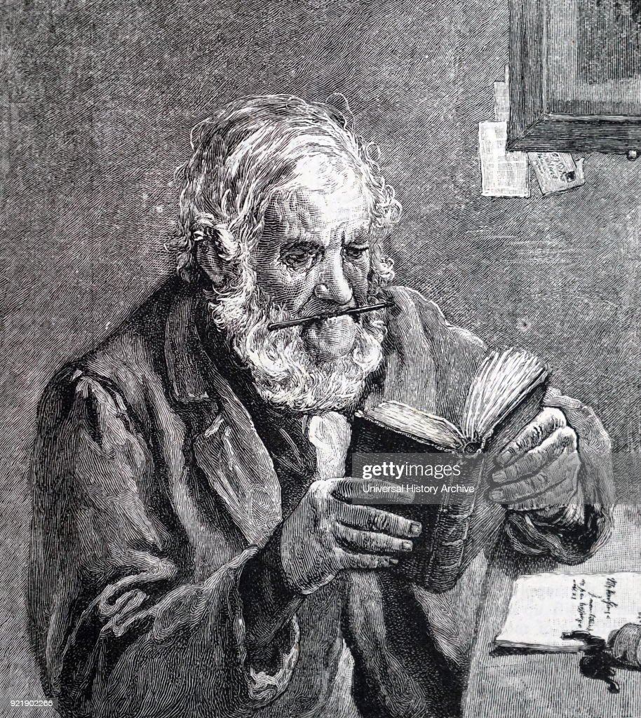 Illustration depicting an elderly man using a dictionary. Dated 19th century.