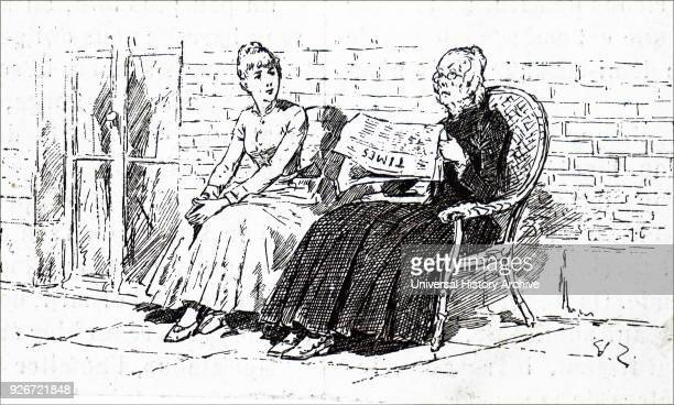 Illustration depicting an elderly woman reading The Times newspaper. Dated 19th century.