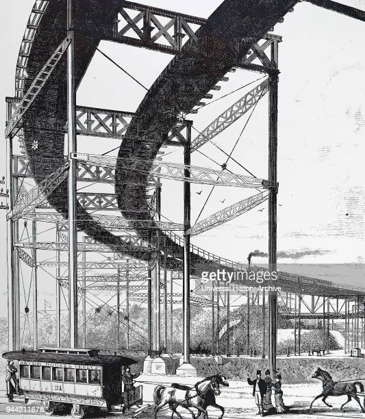 Illustration depicting an elevated railway in New York City. Dated 19th century.