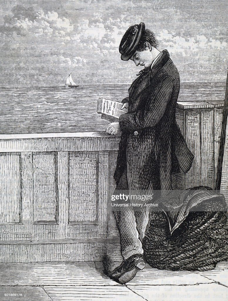 Illustration depicting an emigrant reading aboard a ship travelling to America. Dated 19th century.