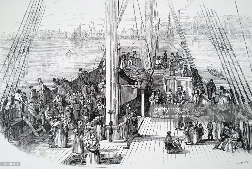 Illustration depicting an emigrant ship leaving Liverpool for America. Dated 19th century.