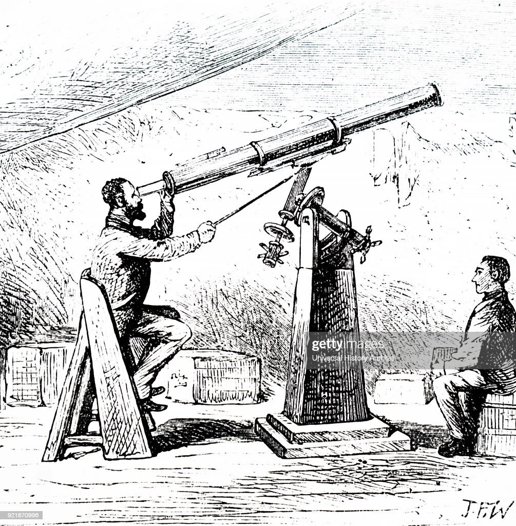 Illustration depicting an expedition to observe the transit of Venus on Kerguelen Island. 19th century.