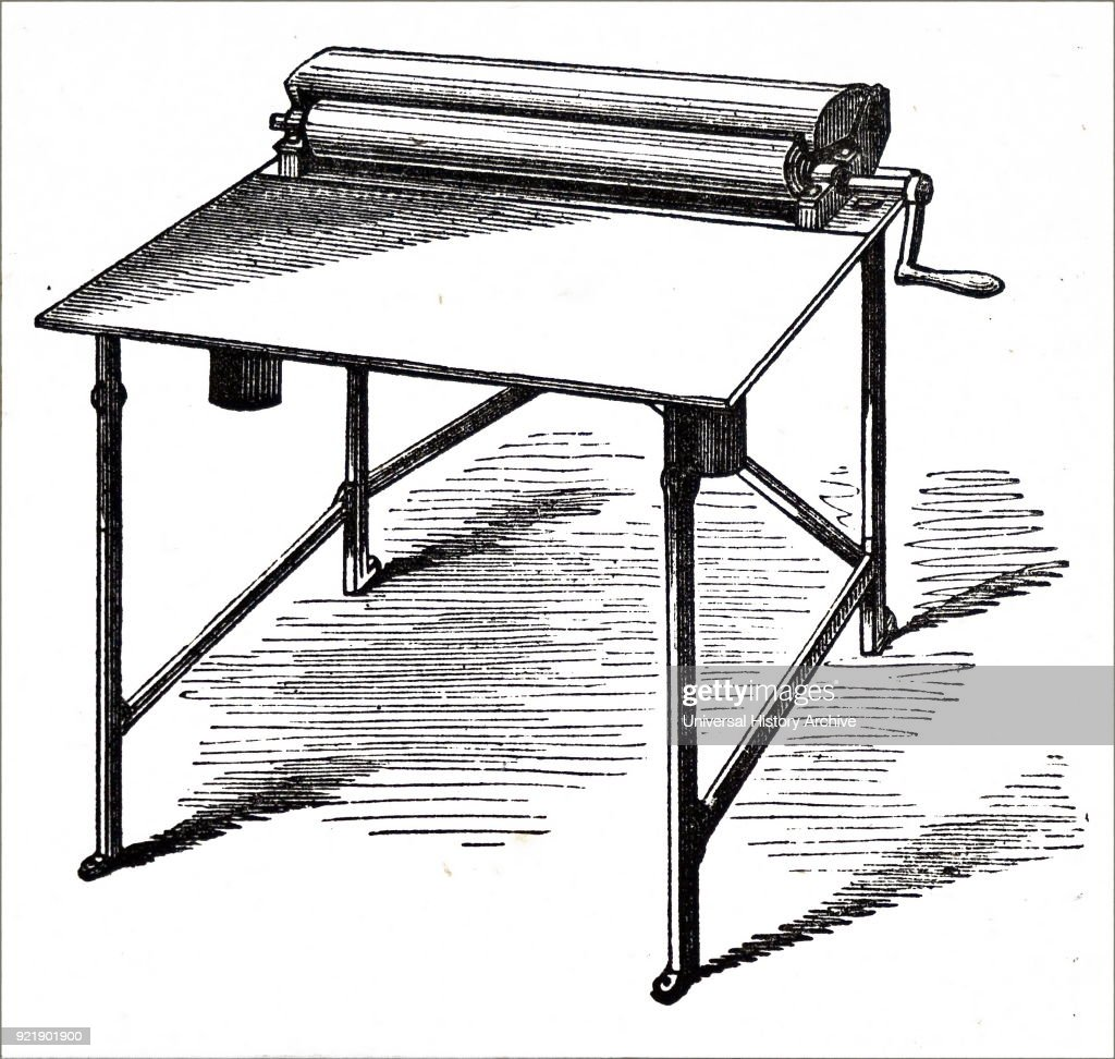 An inking table. : News Photo