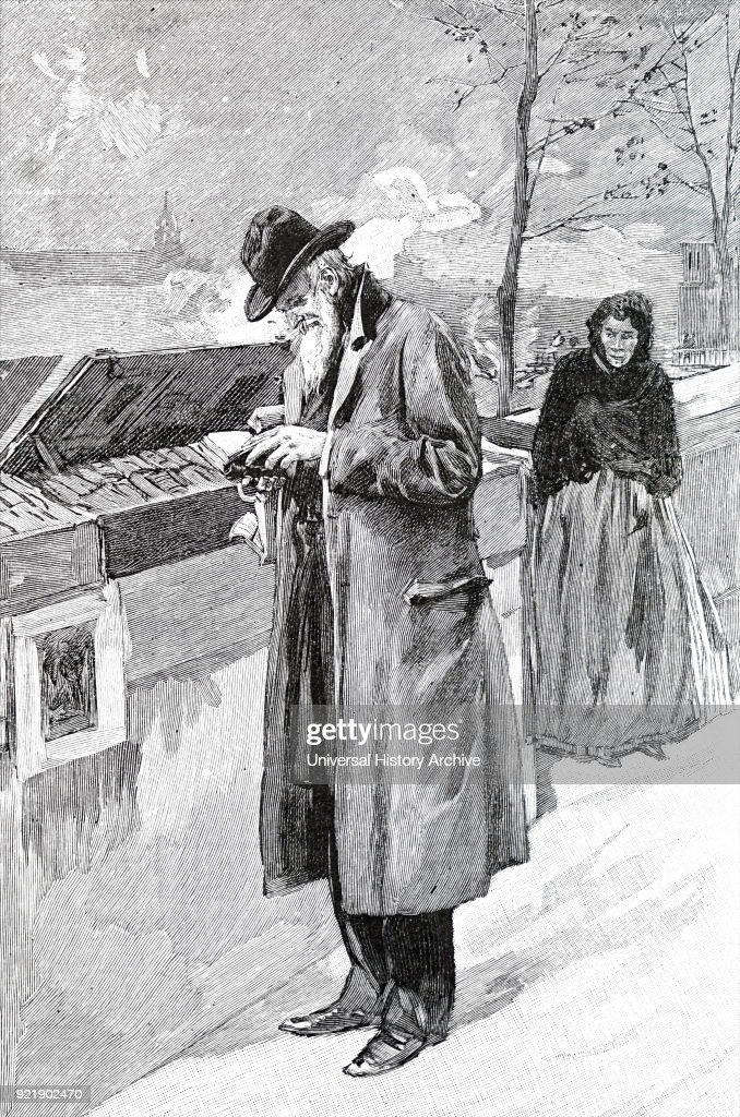 Illustration depicting an old man browsing in a second-hand book stall. Dated 19th century.