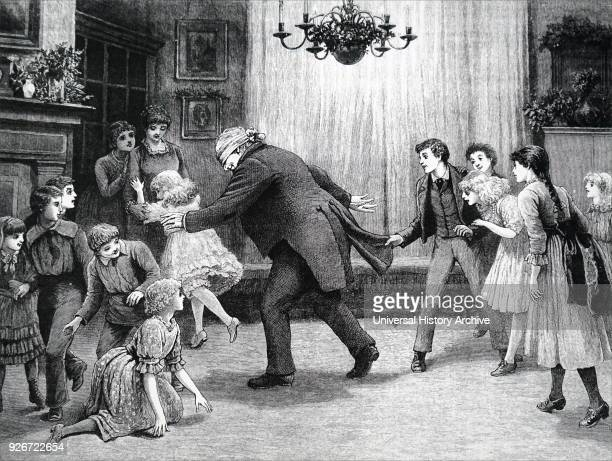 Illustration depicting an older family member playing Blind Man's Bluff he is attempting to catch someone whilst he is blindfolded Dated 19th century