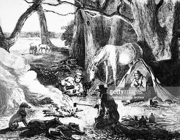 Illustration depicting Australian cattle men camped for the night Dated 19th Century