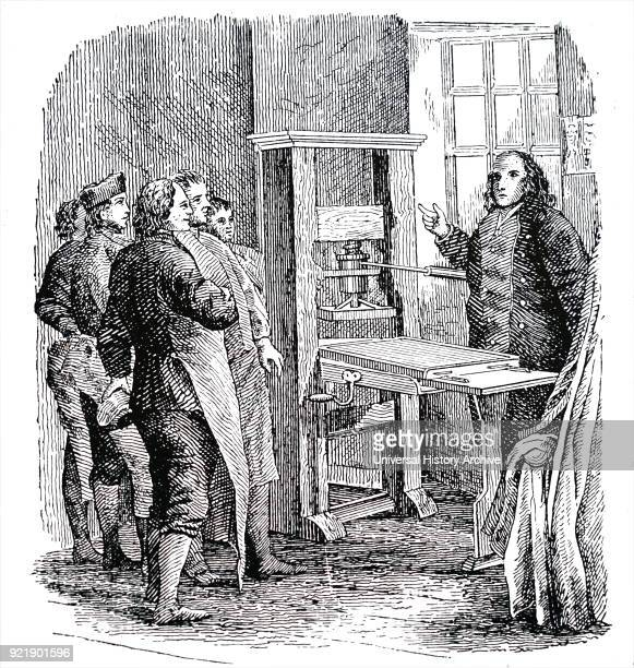 Illustration depicting Benjamin Franklin with the printing press he used in London and which is now preserved in America Benjamin Franklin one of the...