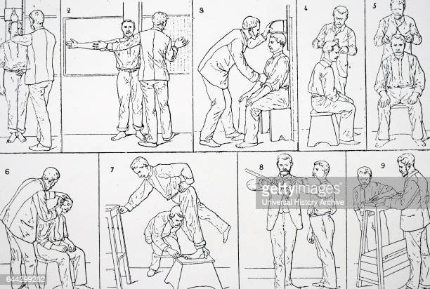 Illustration depicting 'bertillonage' which was originally a system for the identification of criminals making use of anthropometric measurements...