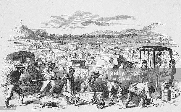 Illustration depicting Black slaves working to deliver supplies to Confederate soldiers in Nashville Tennesee during the American Civil War 1860s