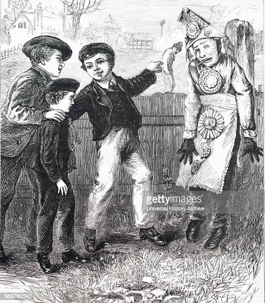 Illustration depicting boys making an effigy of Guy Fawkes. Dated 20th Century.