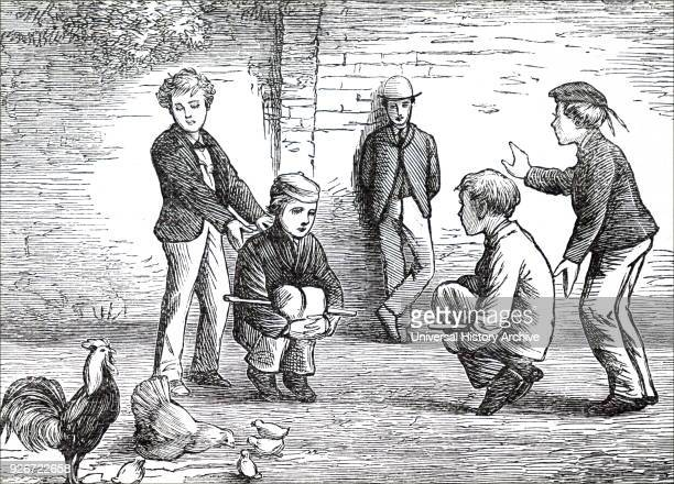 Illustration depicting boys playing cockfighting Two players are made to sit on the ground draw their legs up and clasp their hands together under...