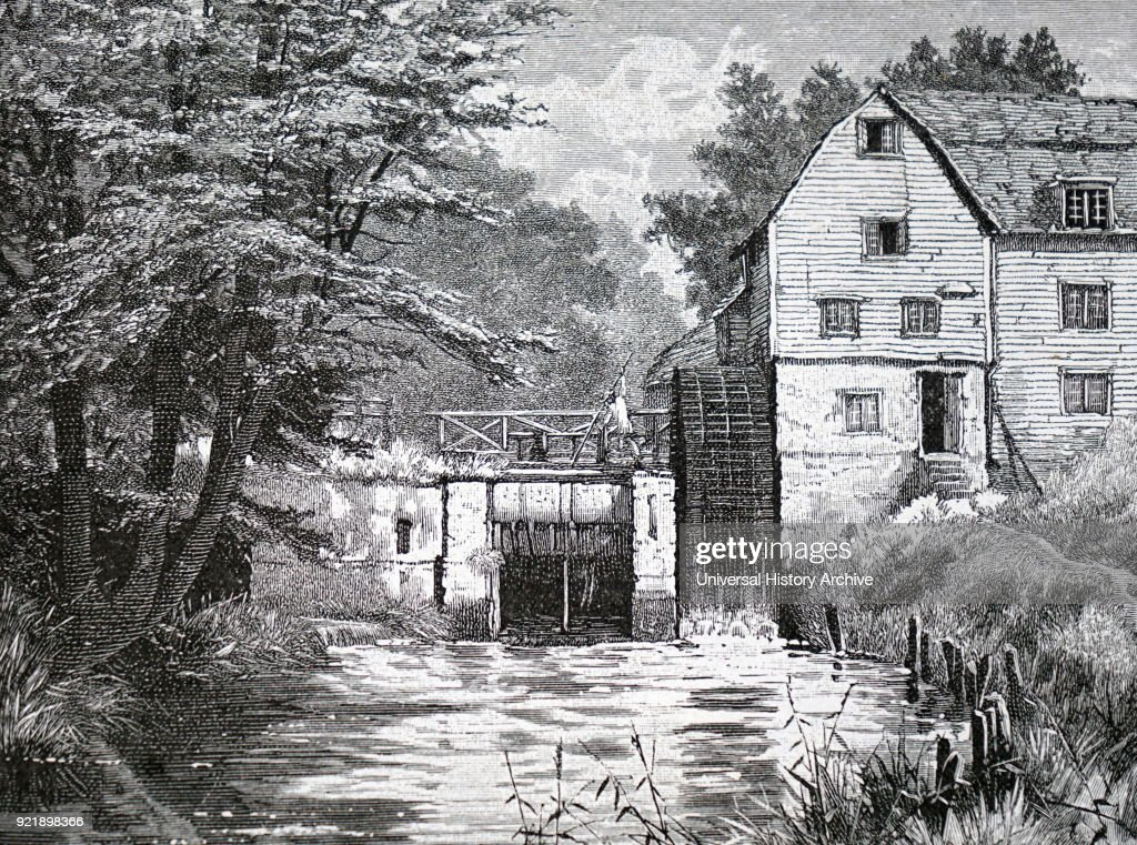 Illustration depicting Castle Mill, Dorking, Surrey. Dated 19th century.