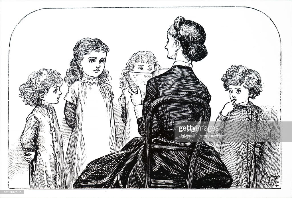 Illustration depicting children listening to their governess reading aloud. Illustrated by Mary Ellen Edwards (1838-1934) an English artist who contributed to many Victorian newspapers and journals, as well as being an illustrator of children's books. Dated 19th century.