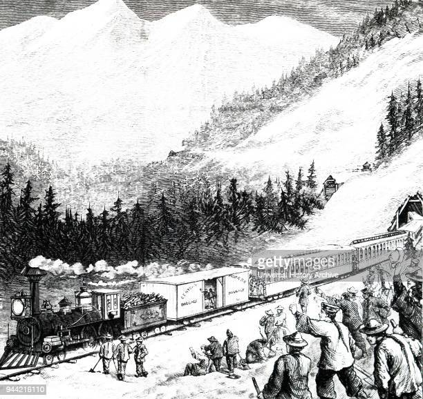 Illustration depicting Chinese labourers clearing snow on the Pacific Railroad in the Sierra Nevada mountains Dated 19th century
