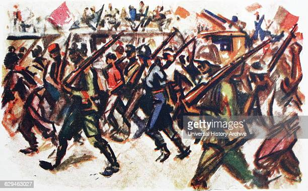 Illustration depicting communist militia marches through a Madrid street during the Spanish Civil War Dated 1936